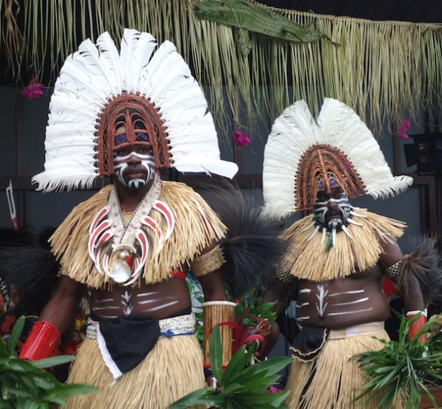 Sabai Island warriors in dancing garb at the cultural centre.