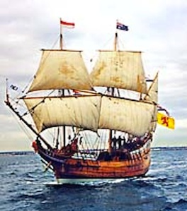 Replica of Duyfken.  Image from Duyfken Replica Foundation web page.