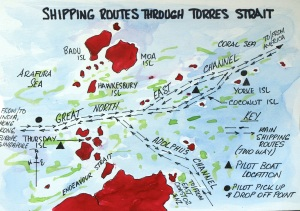 Deep water shipping channels through Torres Strait.