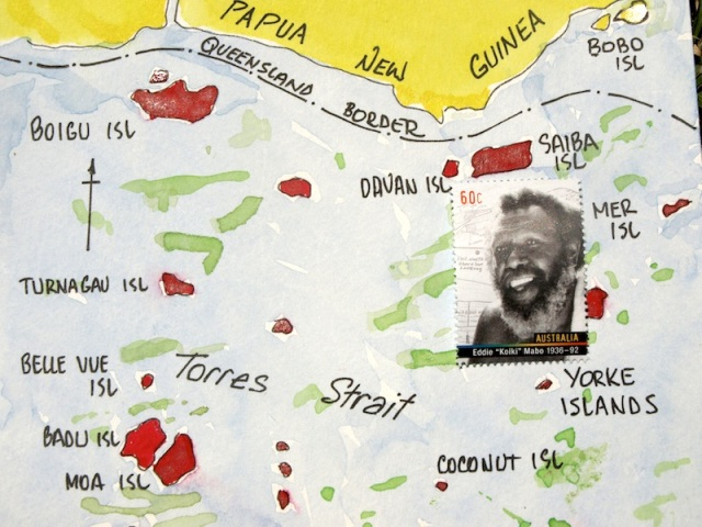 Eddie Mabo as depicted on an Australian stamp 2013. Eddie Mabo's homeland, Mer Island, is shown on the right hand edge of the map.