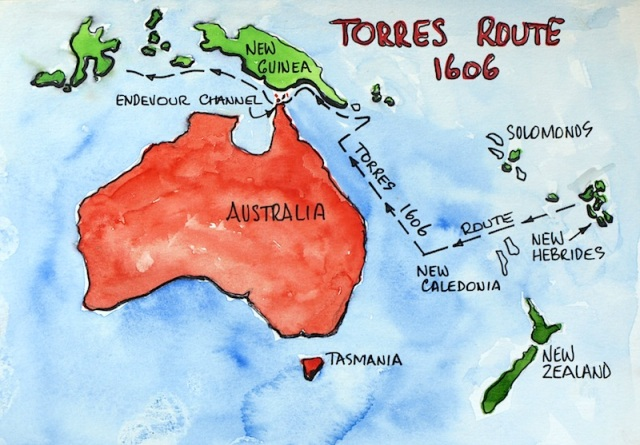 Torres route suggested by Capt Brett Hilder in 1980.