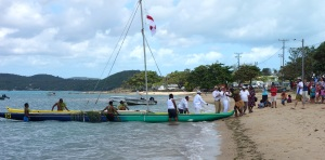 Re-enactment of the 'Coming of the Light' on Thursday Island this year.