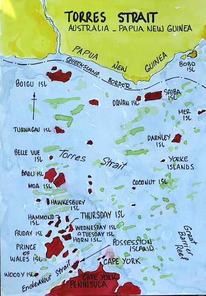 Map of Torres Strait showing location of Poruma/Coconut Island.