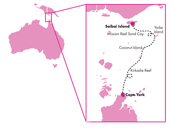 The kite surfers' route through Torres Strait. Coconut Island is about two thirds along the way. Map courtesy McGrath web page.