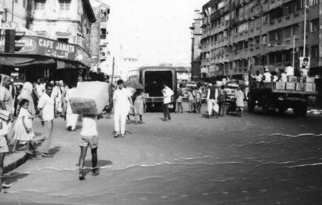 A human donkey and a traffic hazard ahead.
