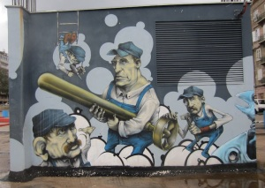 Workers in the Rijeka torpedo factory.  We discovered this amazing mural quite by accident in a back street of Rijeka Croatia.