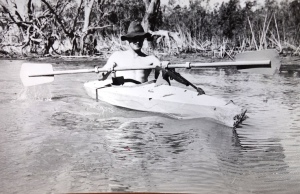 Ian paddling in the Macquarie Marshes in one of our homemade kayaks. Note the .22 rifle on top of the kayak that we used to take pot shots at wild pigs. The Macquarie Marshes in the 1960/70s were known as the 'home of the wild pig'.