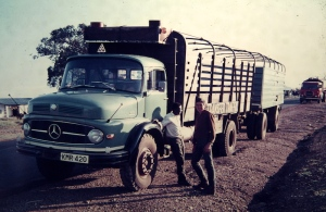 The driver and the truck near the Kenyan Ugandan border that saved the day. The truck was  carrying bananas