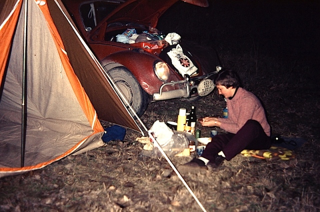 Our first free camp (Greece) in 1972. Bev 'knocking up' dinner.