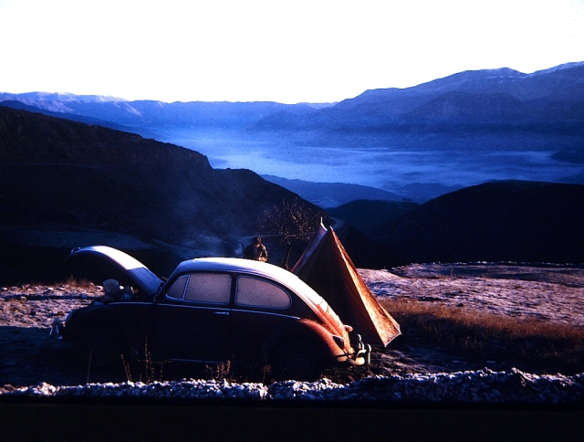 Camped high in the mountains of Greece 1972. Note the frost on the Beetle and tent.