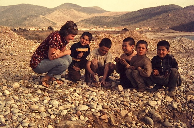 Bev having a chat with young locals along the south coast of Turkey during our return east from Syria.