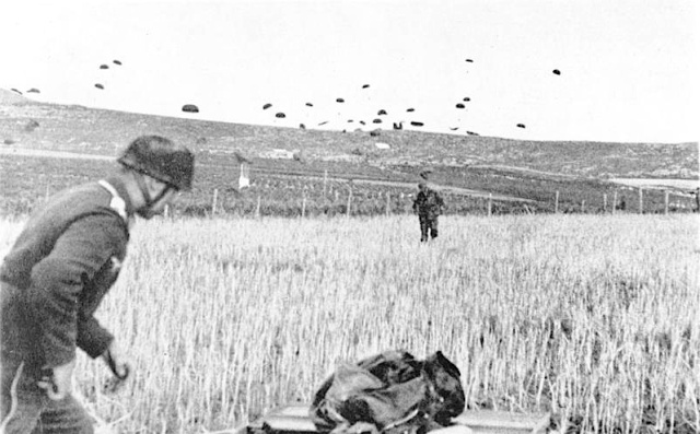 German paratroopers landing on Crete. From German Federal Archives via Wikipedia.