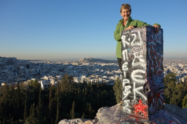 Bev on Strefi Hill with the Acropolis on the far horizon.