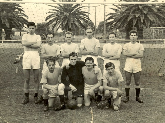The multinational soccer team in Tamworth. Aleko, second from right back row and his brother John on his left.