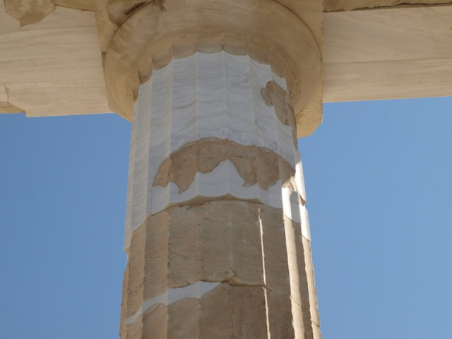 Doric order column showing restoration efforts.