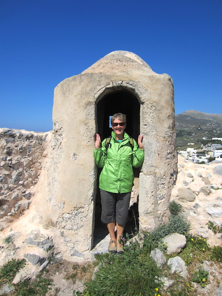 Dunny-style sentry box high up on the wall at Chora Castle.