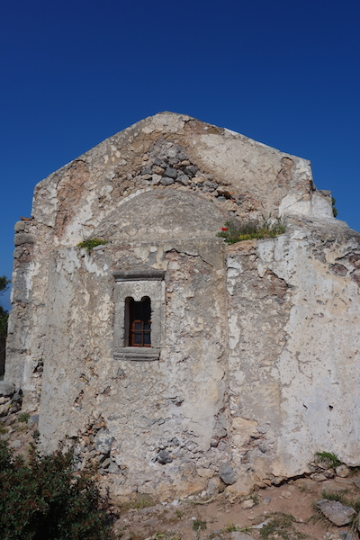 Church within the walls of Chora Castle. There are over four hundred churches on Kythera.
