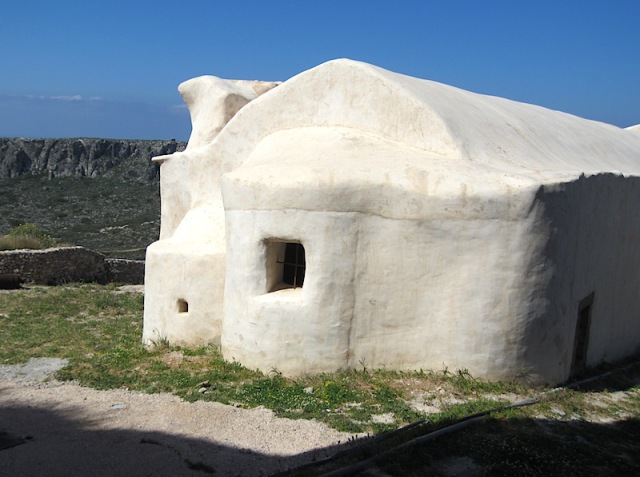 The icing on a church cake, a restored church at Chora Castle.