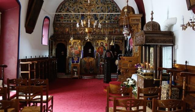 Inside the small well-preserved Church of Estavromenos.