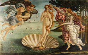 The Birth of Venus (Roman name for Aphrodite). Painted 1484-1486 by Sandro Botticelli (1445-1510). The scallop-shaped shell she is standing in represents a vulva. Image in the public domain.