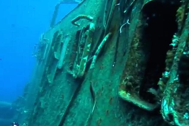 Open door of the Nordland. Alexander went in through this open door and explored the interior of the sunken vessel.