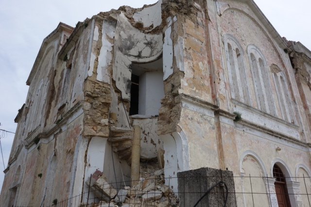 The Mitata church spire fell during the earthquake. It is not often one can cut a church steeple in half and see how a spiral staircase is built.
