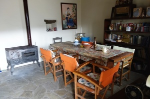 Dining area.  We very much enjoyed using the wood stove.