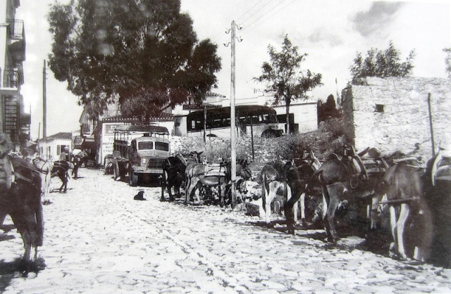 This is how it was during donkey days in Potamos. I think this photo was taken just after WW2 as the truck in the background is a military British Bedford. Above vintage photographs by Chris Lourandos.
