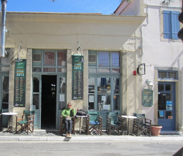 Our favourite café, the Astikon, in the main street of Potamos. You have to keep your toes in as sometimes cars go close.
