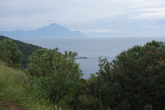 Mt Athos (2030m) in the distance on the most eastern finger.