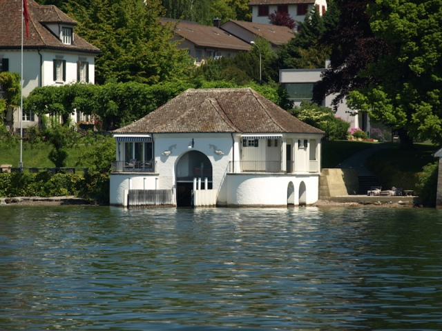 An authentic boathouse on the foreshores of Lake Zurich.