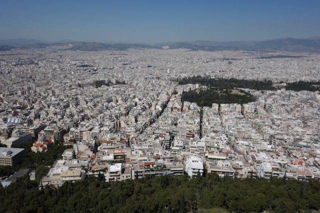 Pixilated Athens. A mono specific landscape housing 3.25 million people.