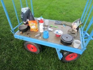 Our trolley table.  There were no picnic tables, benches or seats for campers like us. We made do with a trolley.
