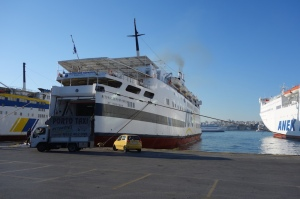 The B. Kornaros next morning at Piraeus (port of Athens) after disgorging its passengers.