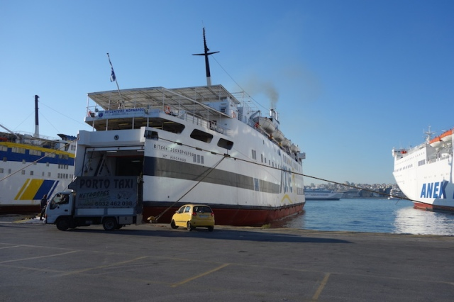 The B. Kornaros next morning at Piraeus (port of Athens) after disgorging its passengers.