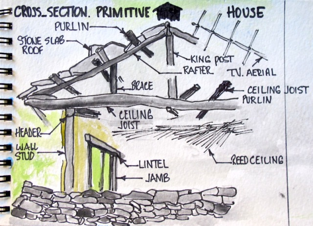 A drawing to help in appreciating the work that went into the house in the previous photograph.