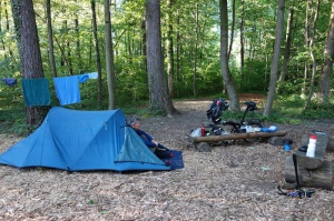 Our Gasi camp, a delightful spot except for the constant motorway drone.