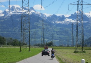 Yesterday's alpine scenery marred by power lines.