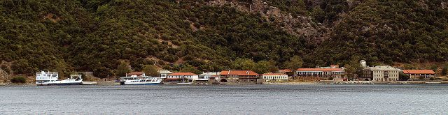 Port of Dafni, the main port on the Athos peninsula for the monasteries. Image work of Anton Lefterov via Wikimedia free media repository.
