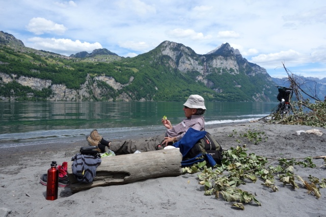 Lunch and rest on Lake Walensee.