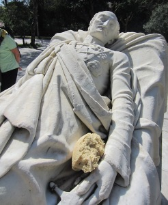 A thoughtful Athenian left bread for this reclining statue.