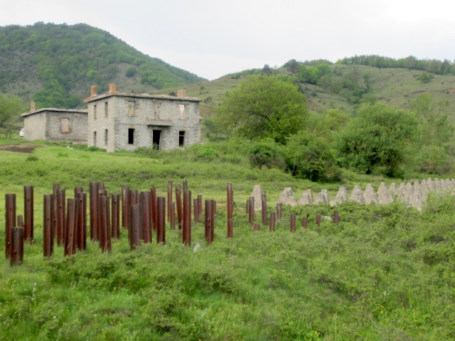 Tank traps near the Bulgarian/Greek border.