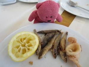 Sardines, octopus, lemon and bread.