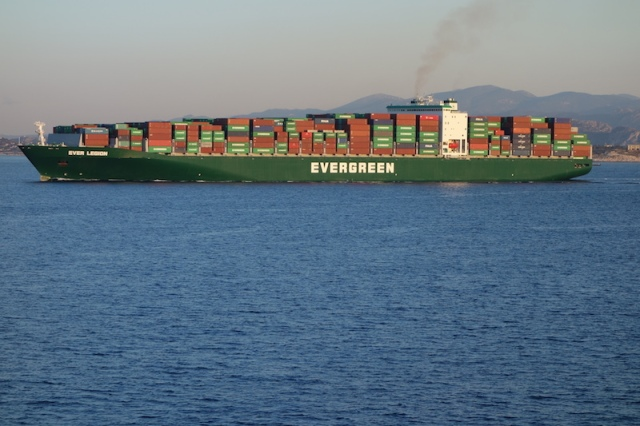 One of the big boys leaving the Port of Piraeus.