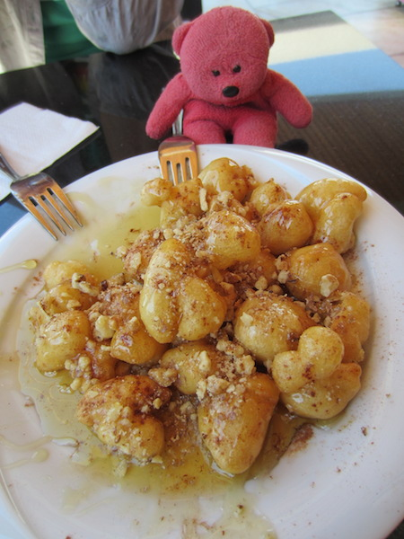 Miniature dumplings with honey. TBear particularly liked this dish.