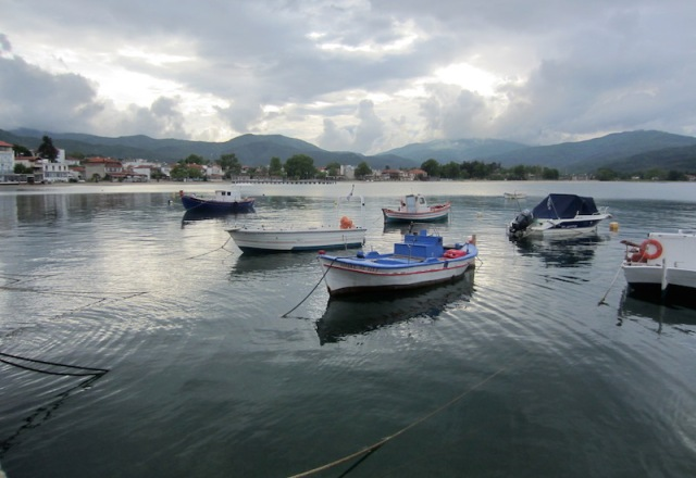 Functional boats moored to the south of the village.