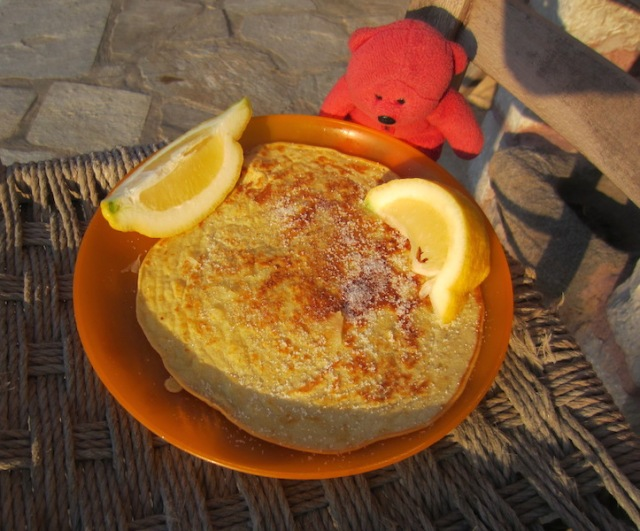 Homemade pancakes with lemon juice and sugar.
