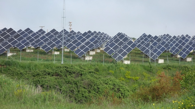 Solar panels in the wheat fields near the hotel where we stayed.