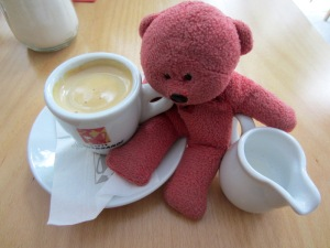 Greek espresso coffee comes in small cups.  One gulp and it's gone. Bev drinks full strength and I drink  decaf.