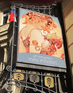 Reproduction of Alphonse Mucha's painting of French actress Sarah Bernhardt outside the Paris Hotel.